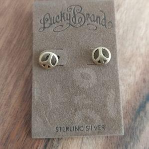 NWT Lucky Brand .925 Gold Peace Earrings
